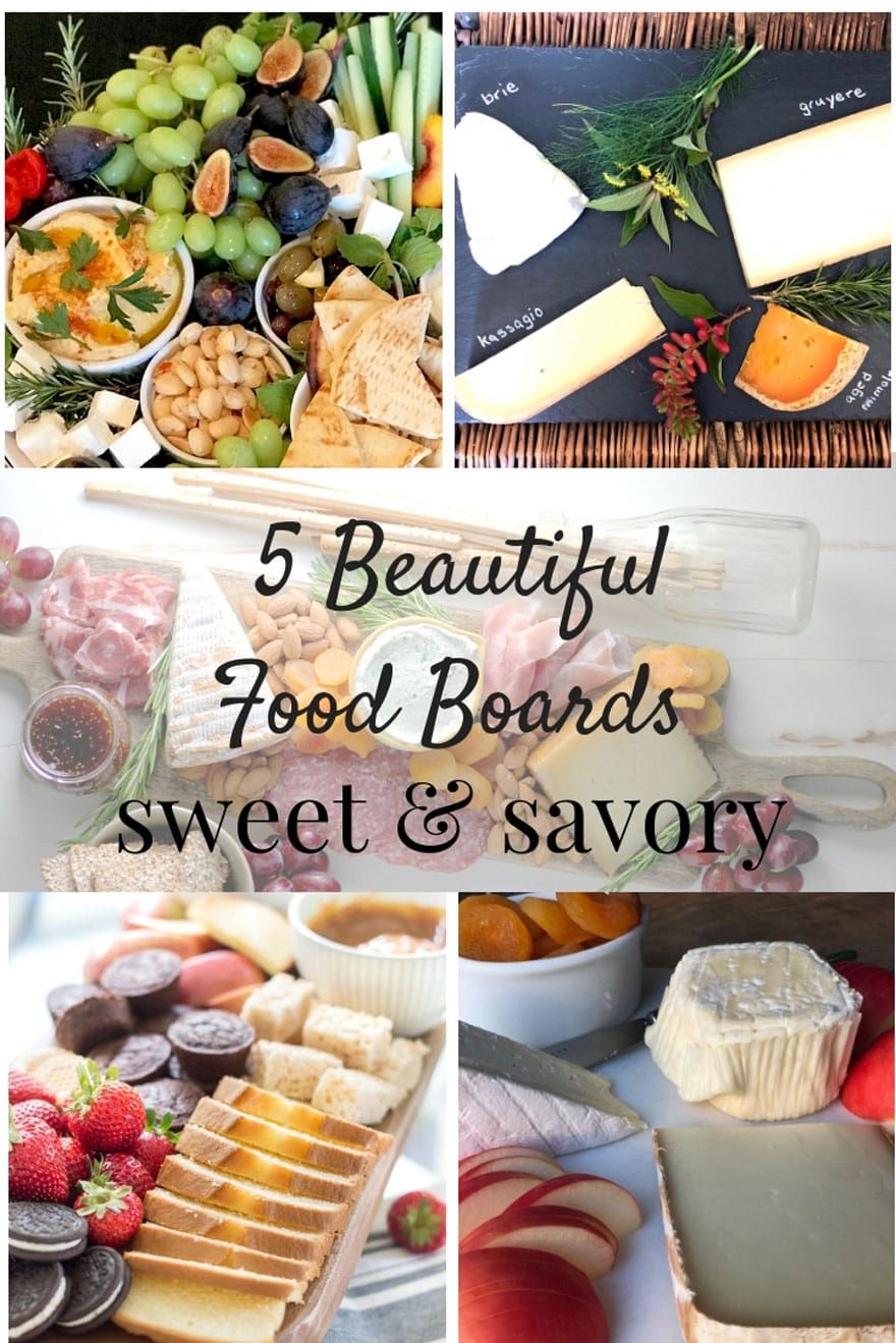 collage of food boards with text