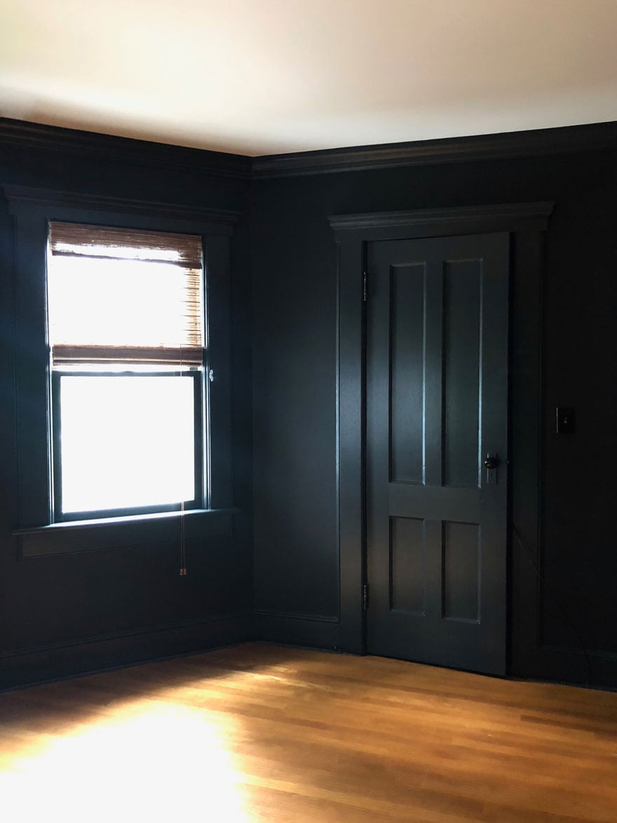 black walls and black doors with hardwood floors
