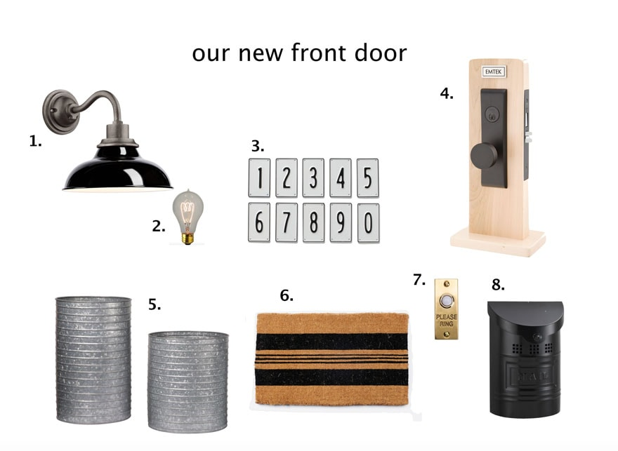 light, lightbulb, house numbers, door hardware, doormat, galvanized planters, mailbox, door bell