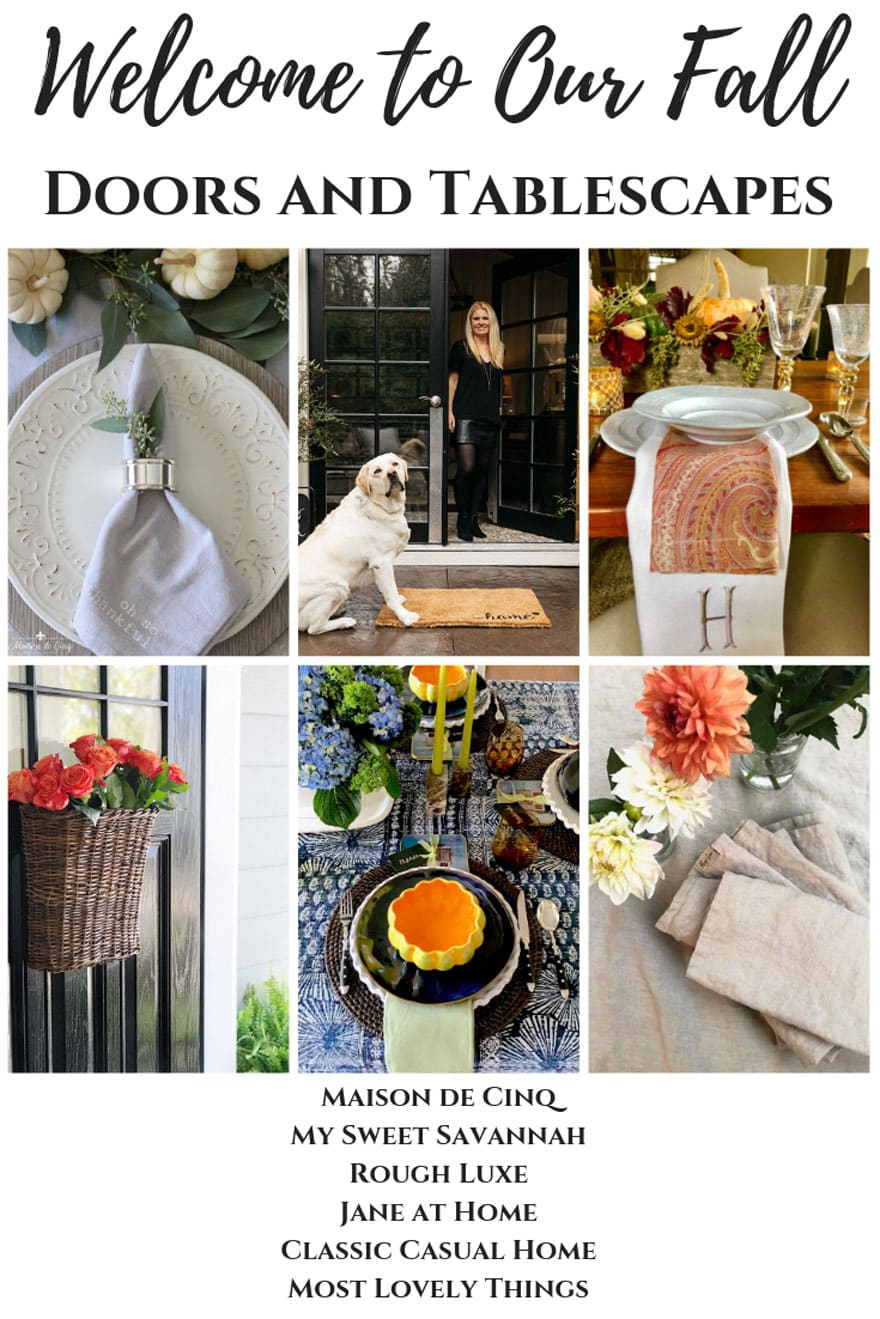 Collage with text about fall tables and front doors