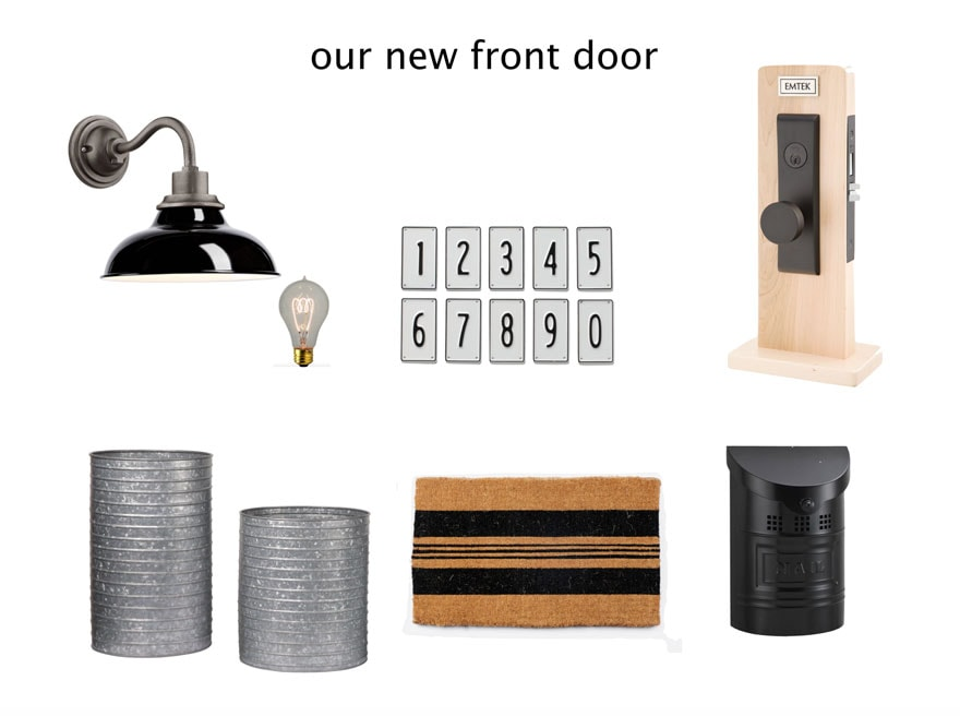 outdoor lighting, mailbox, house numbers, planters, hardware, lightbulb