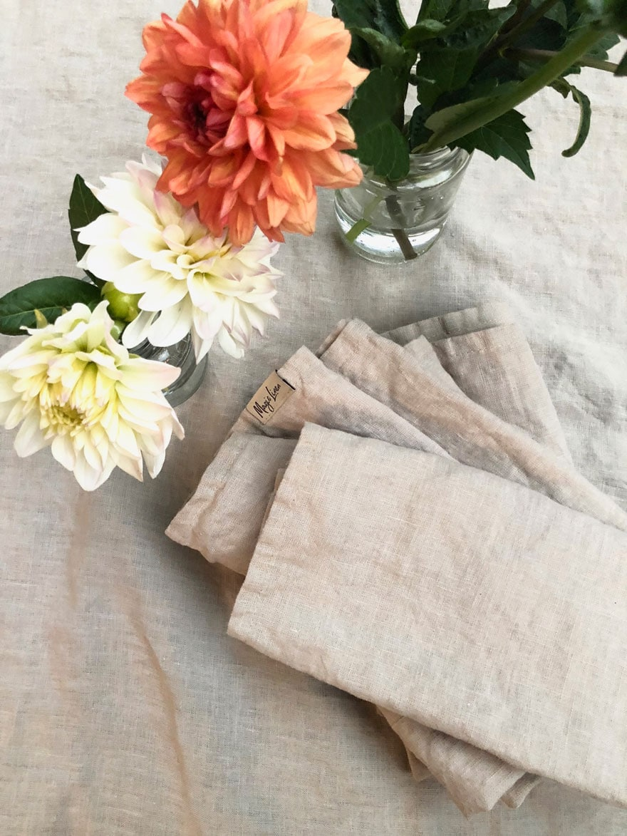 linen napkins and dahlias