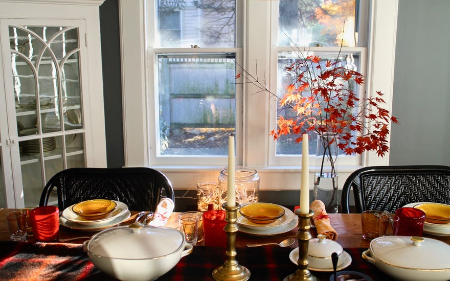 table with window and red leaves