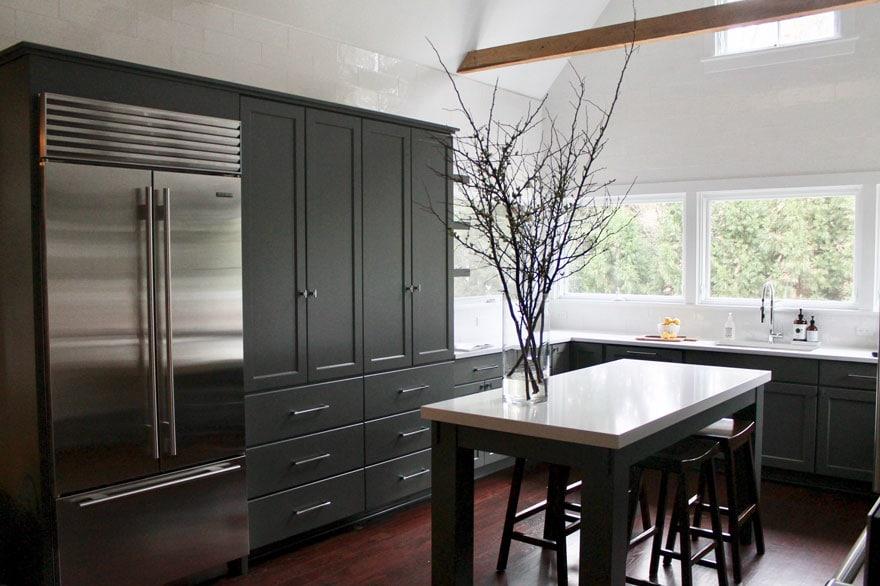 cabinets, kitchen island, built in subzero