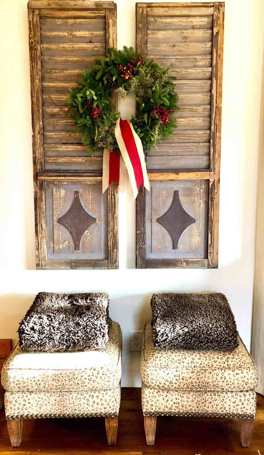 vintage shutters, wreath, ottomans