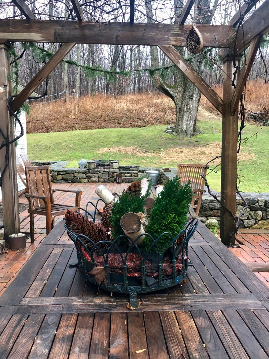 table with Christmas centerpiece outdoor table