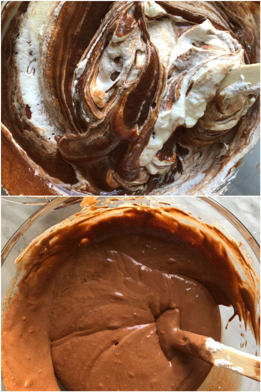 chocolate and egg mixture in bowls with spatula
