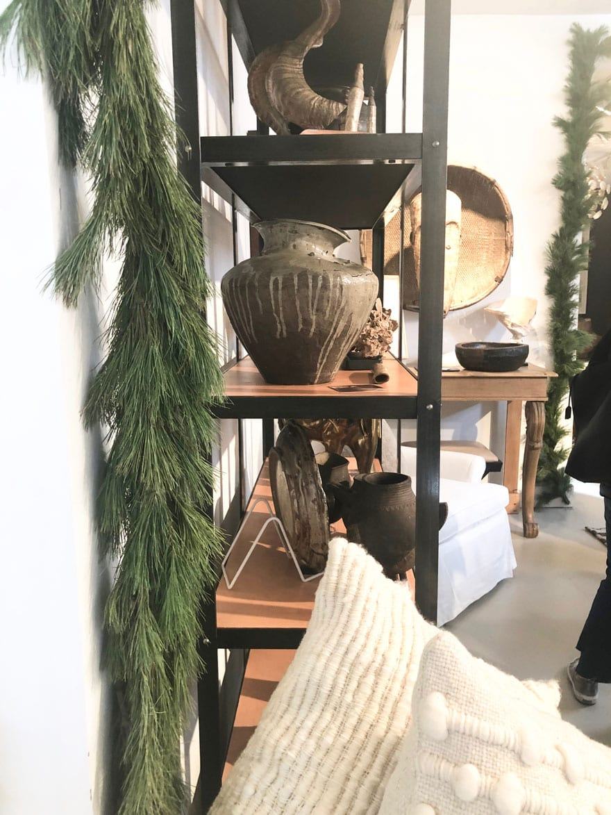 shelves, objects, greenery