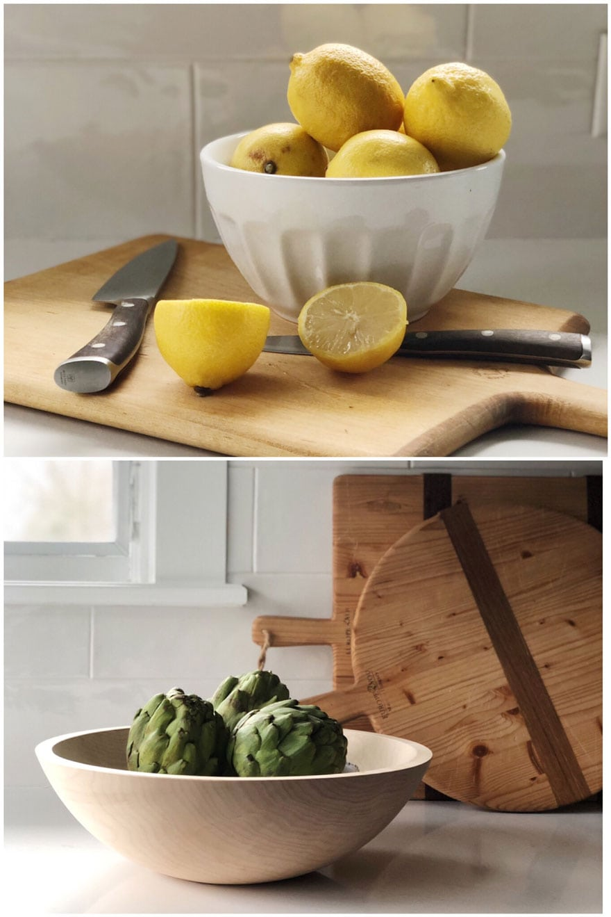 lemons, artichokes, cutting boards, knife