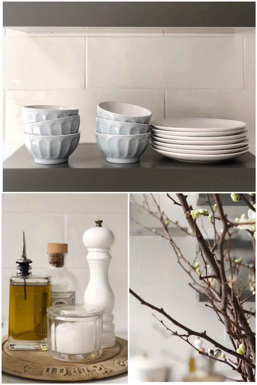 bowls, plates, olive oil, pepper