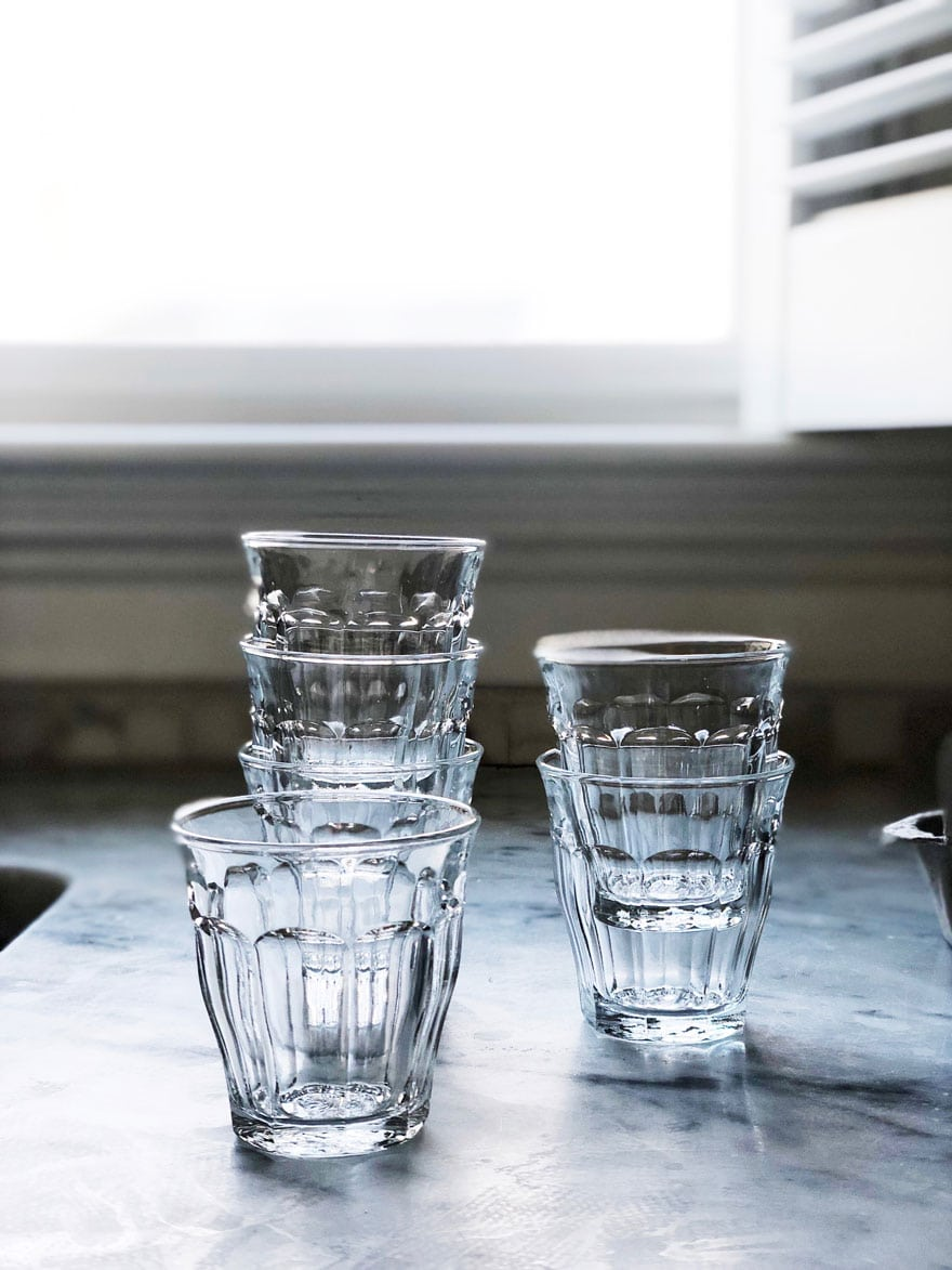 set of small french bistro glasses