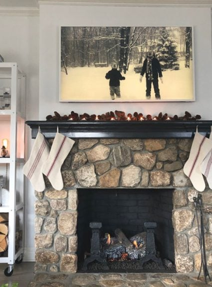 an updated fireplace for the holidays