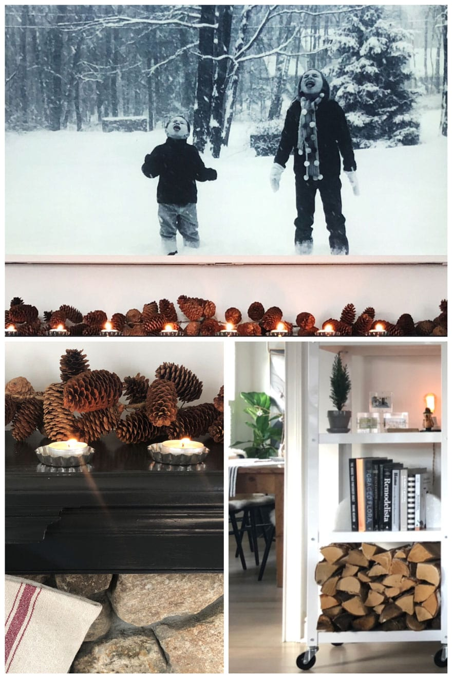 black and white photo in Frame TV, pinecones on mantel, book shelf