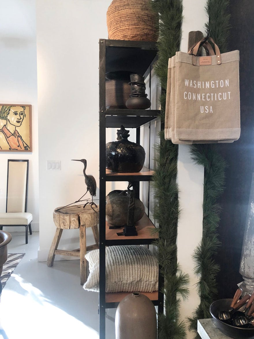 shopping bags, shelves, stool