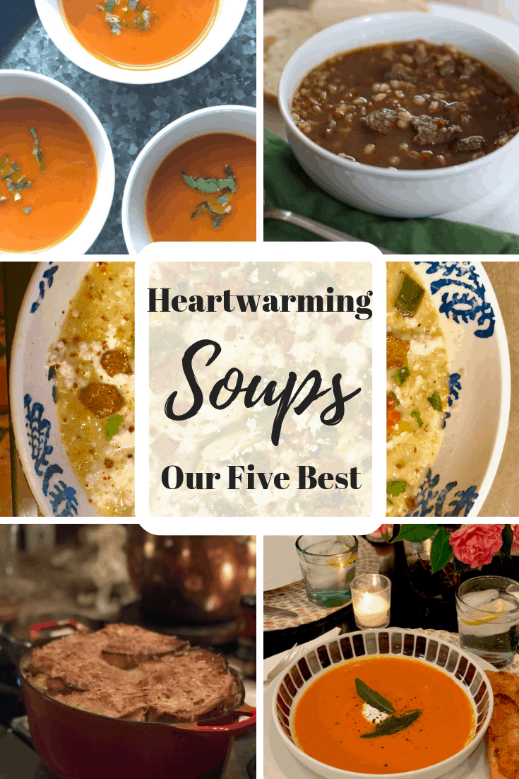 collage of soup photos with text overlay