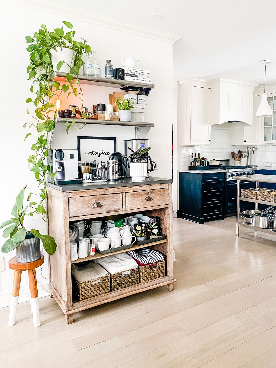 a coffee station in a home with open shelving