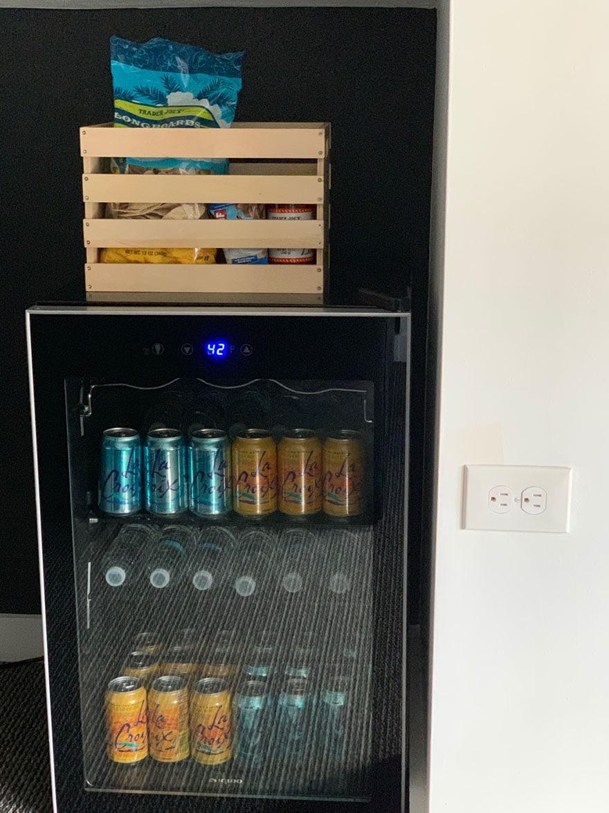 glass door refrigerator, crate
