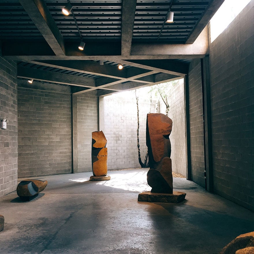sculptures in open raw space