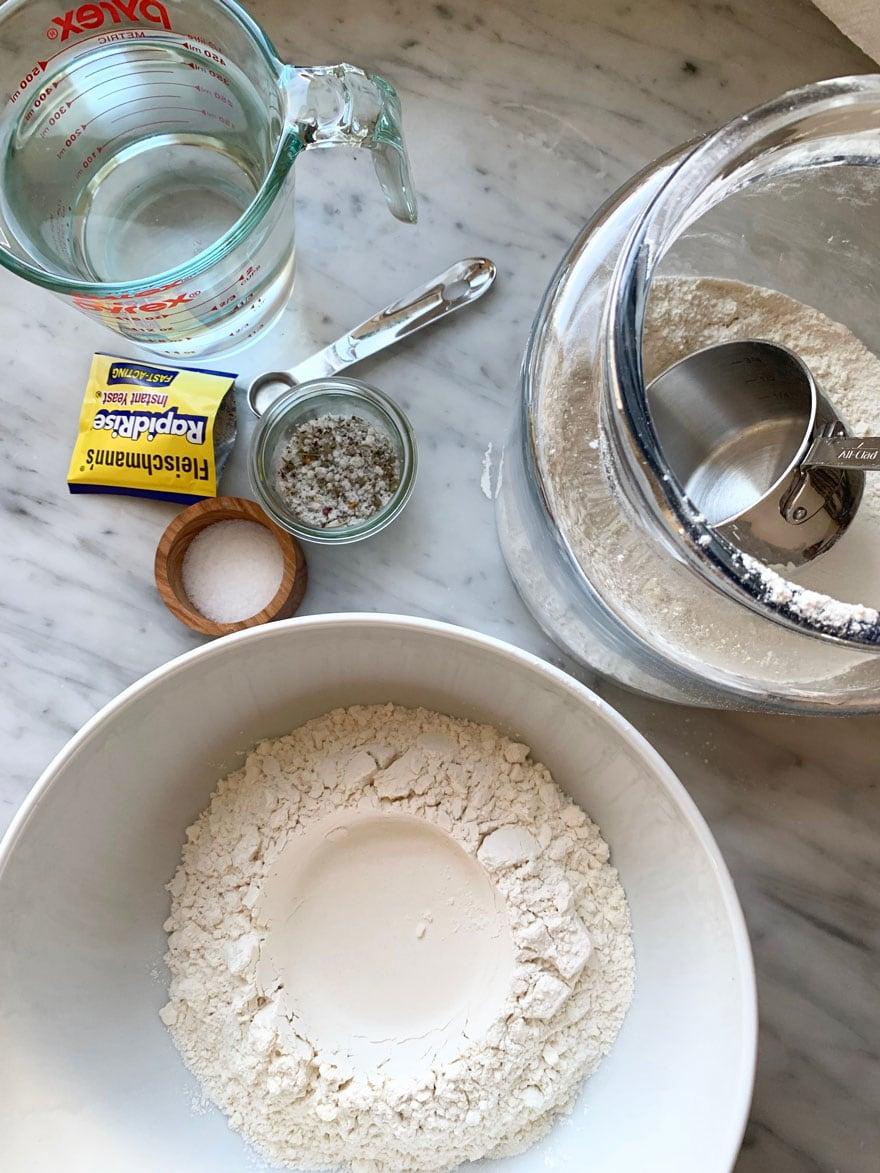 ingredients for bread, flour, yeast, salt