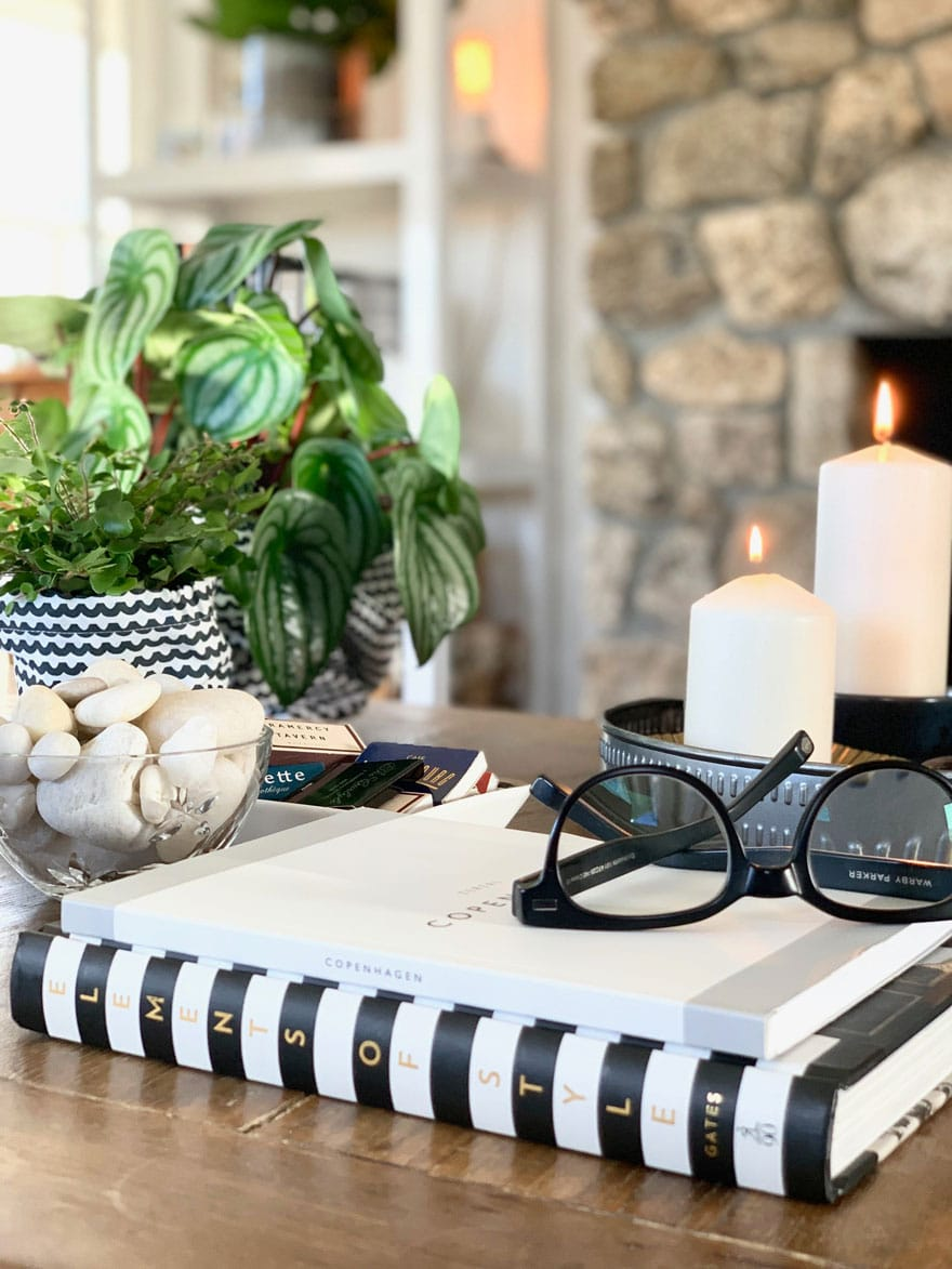 items on coffee table, book, glasses, plants, stone fireplace in background