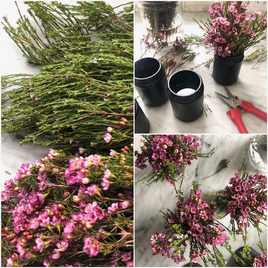 flowers, black jars, clippers