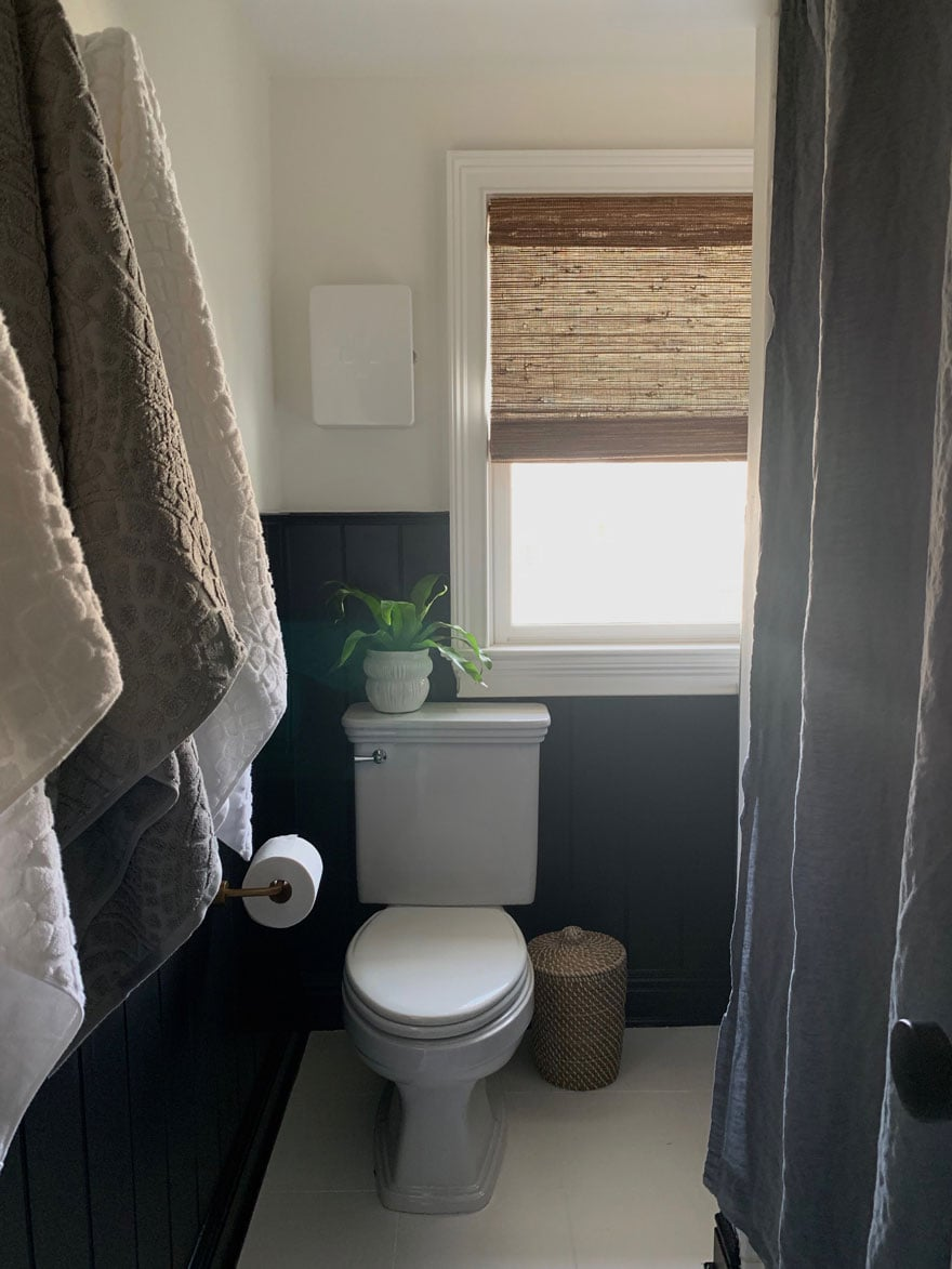 towels on hooks, toilet, plant, woven wood blind, waste basket