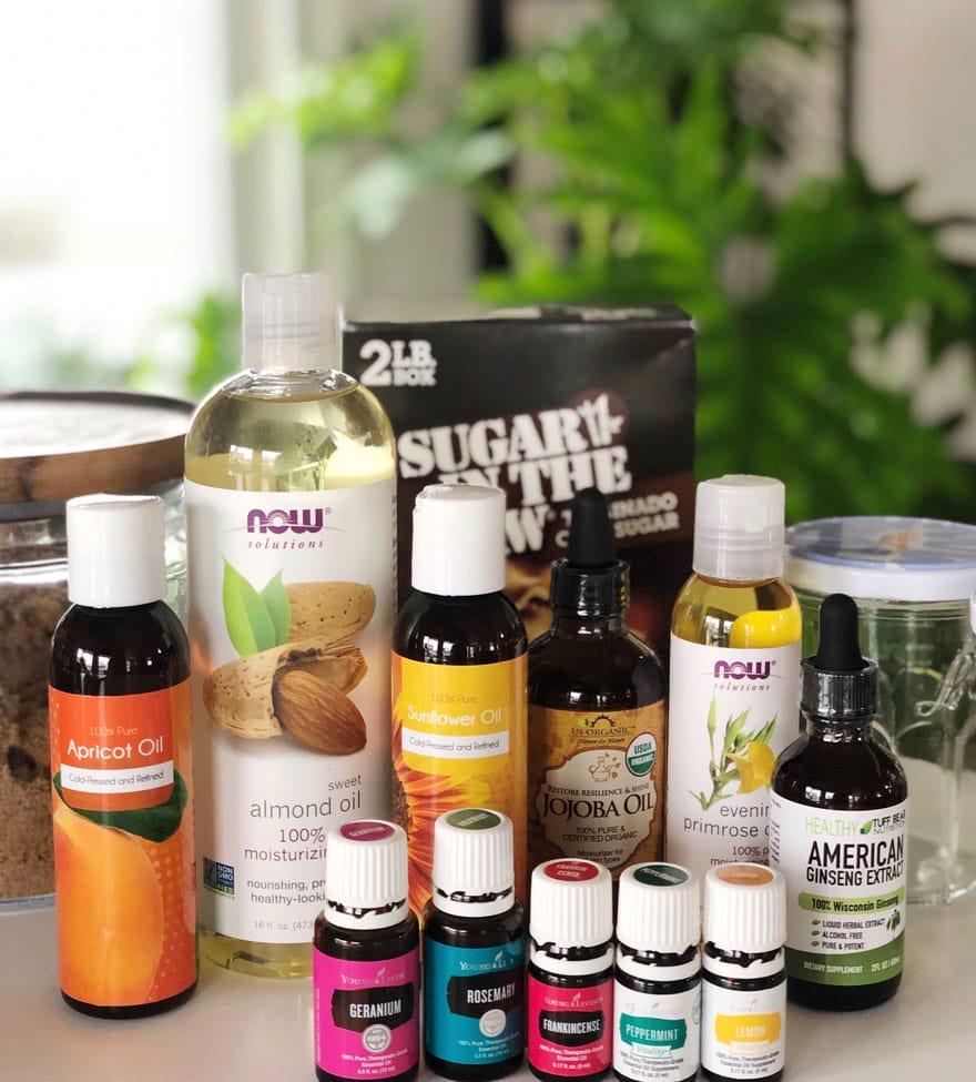 bottles of oils, carrier oils