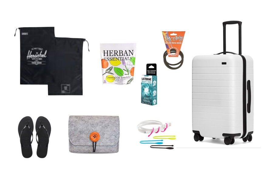 travel items on white background