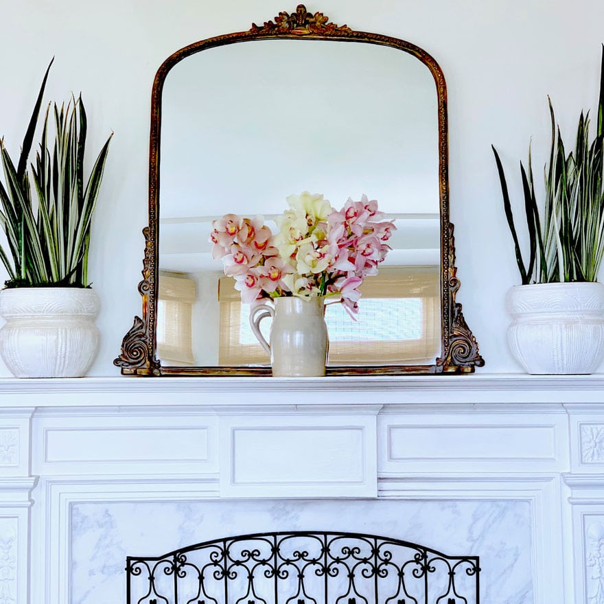 white mantel, gold mirror, orchids and snake plants in white pots