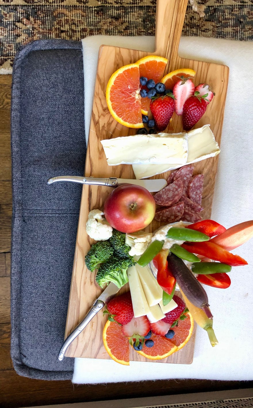 fruit and cheese on board