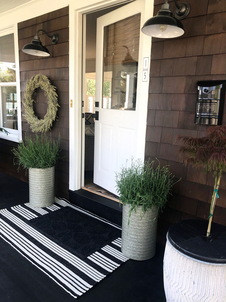 planters, english lavender, wreath, mailbox