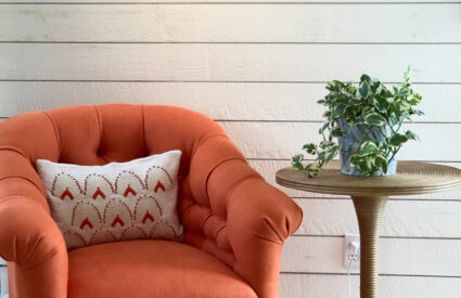orange chair next to table with plant against shiplap walls