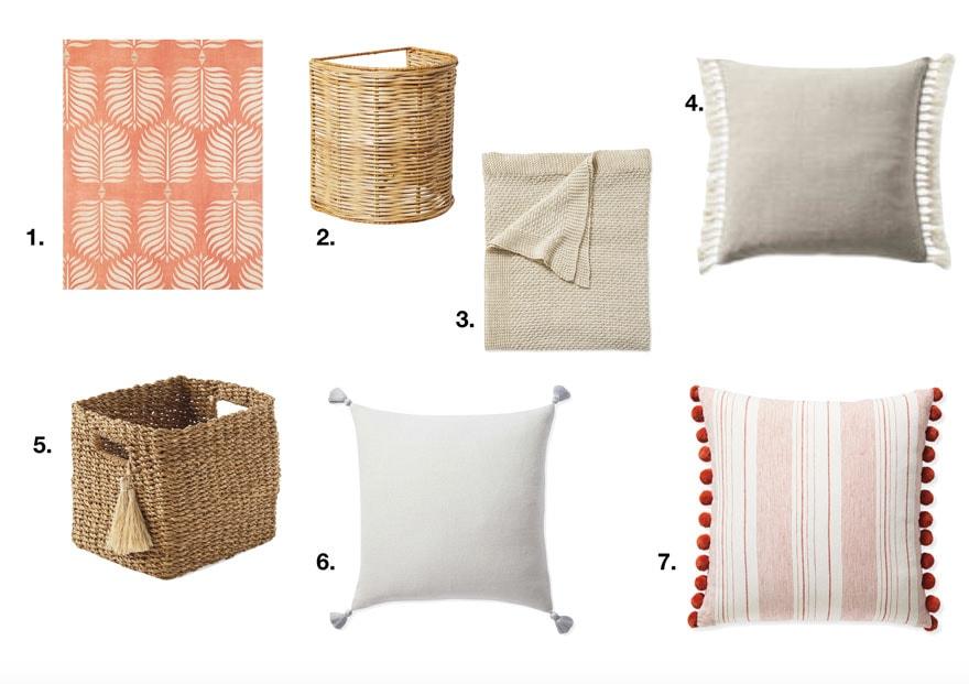 basket, wallpaper, pillows on white background