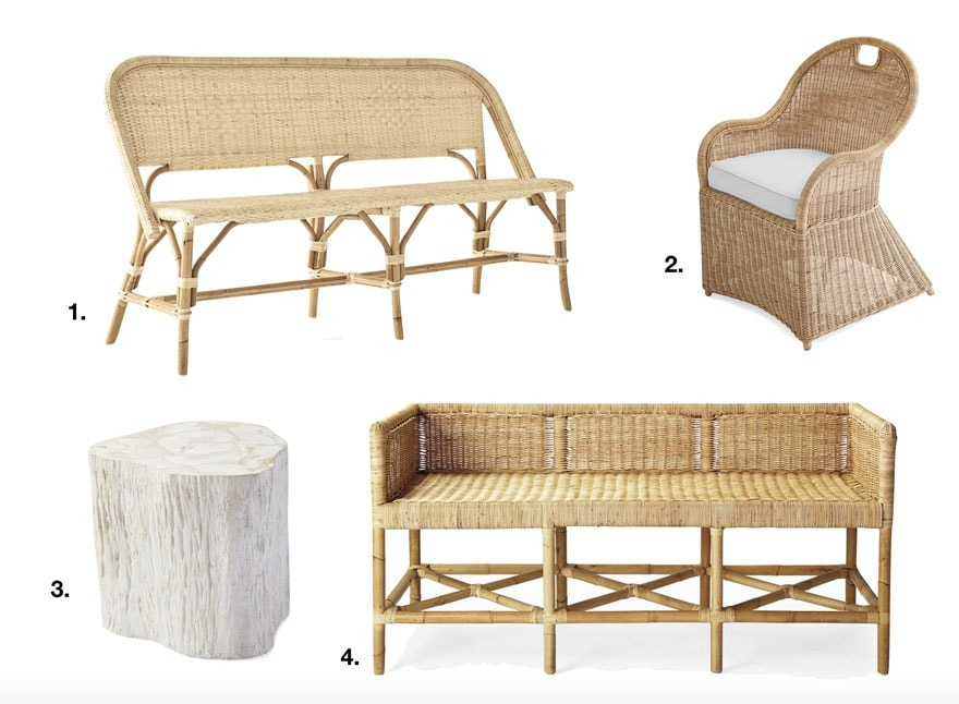 benches and table on white background