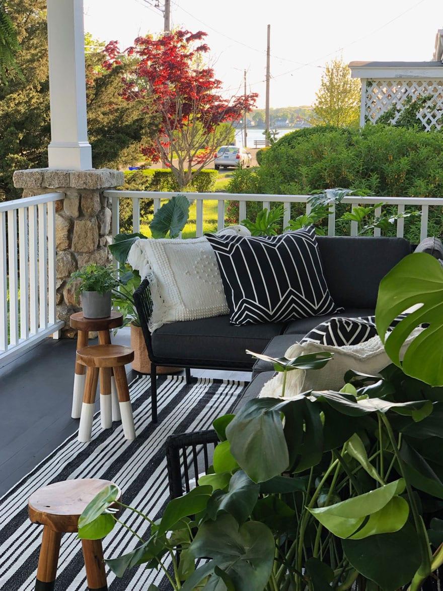 porch, rug, stools, pillow, bench