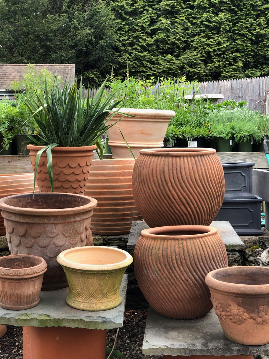 terra cotta planters at a nursery