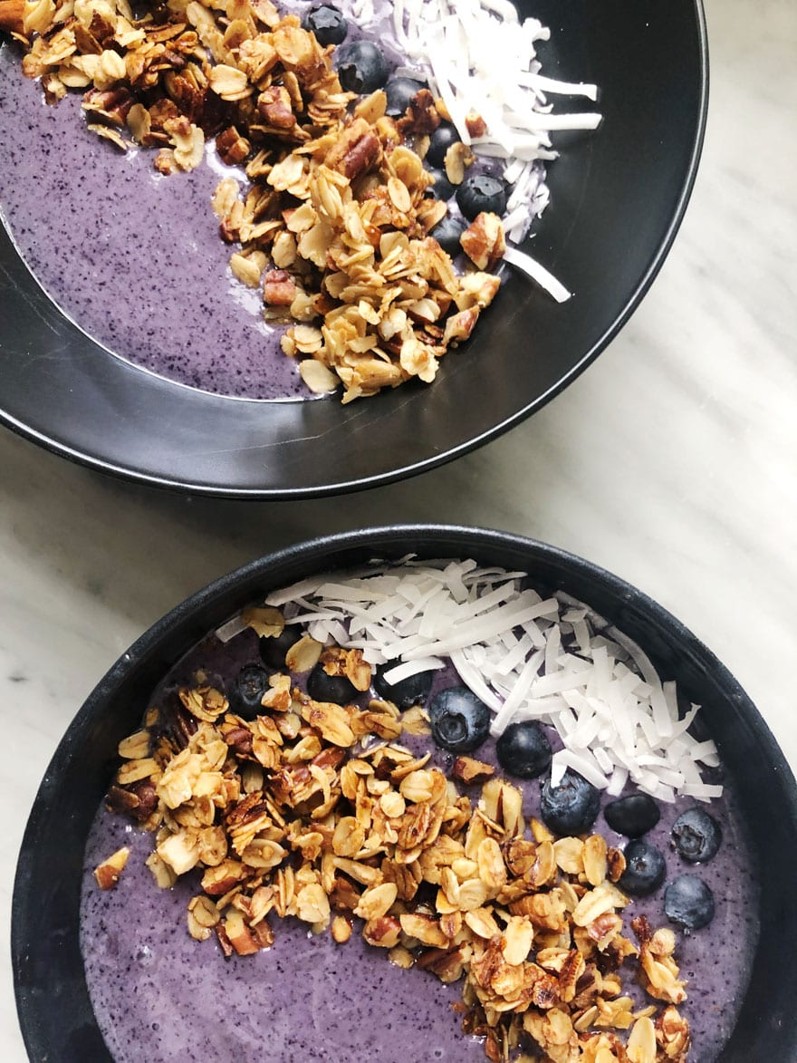 açaí bowls with coconut granola blueberries