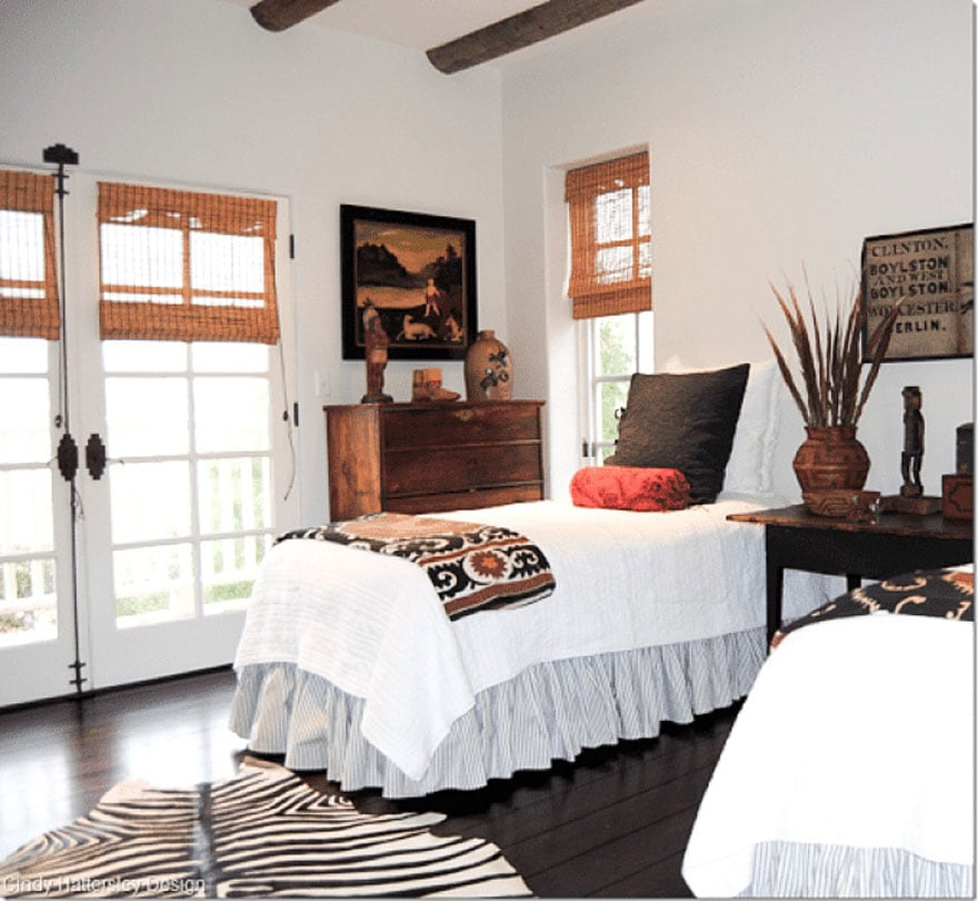 twin beds, pillows, throws, windows, woven shades rug