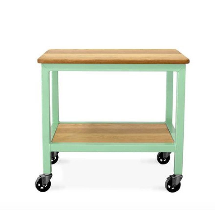 green kitchen island, on wheels, wood top