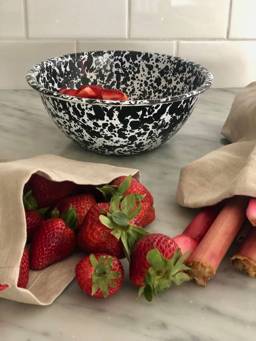 strawberries and rhubarb in produce bags