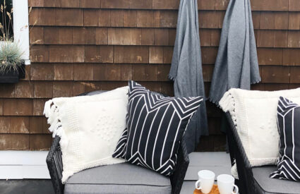 chairs, stools, cups, cedar shake house