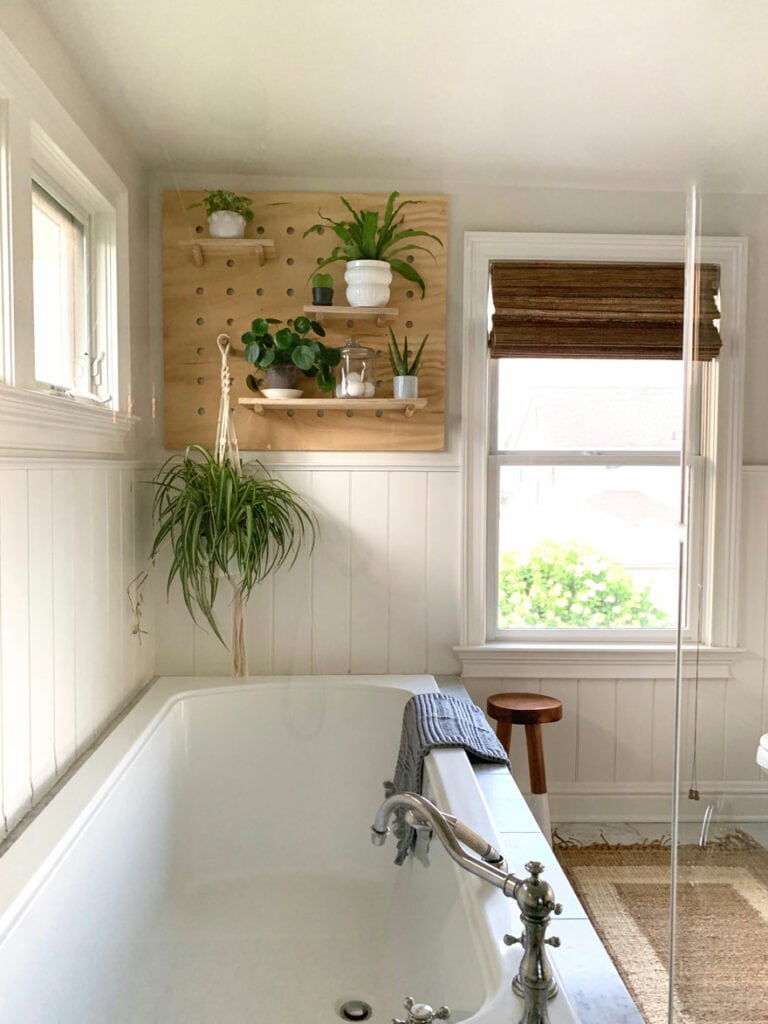 bathroom tub and window with stool, pegboard with plants
