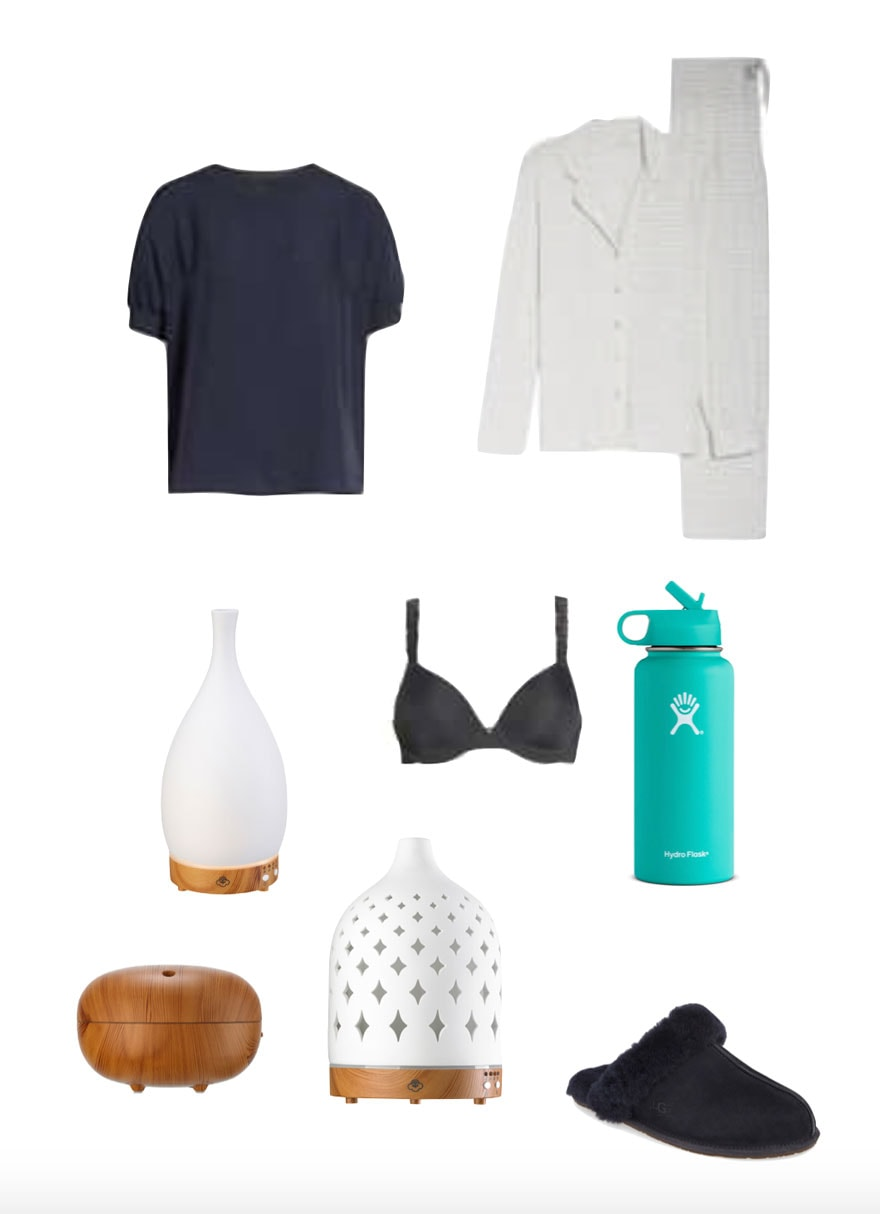 clothes, bra, water bottle diffuser on white background