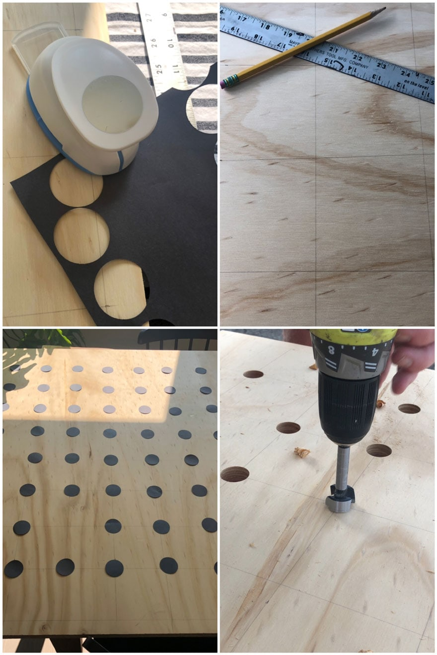 plywood, pegboard, tools