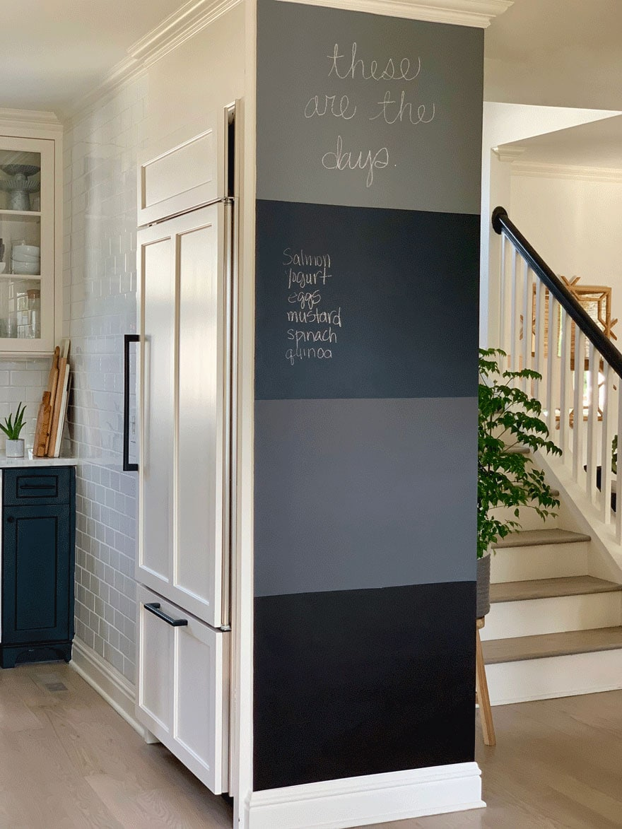chalkboard wall in black and white kitchen