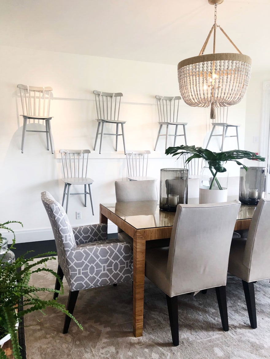 chairs, chandelier, pendant, table