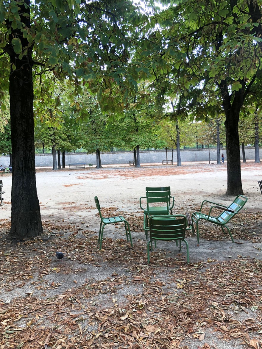 green garden chairs, trees. leaves on ground, paths