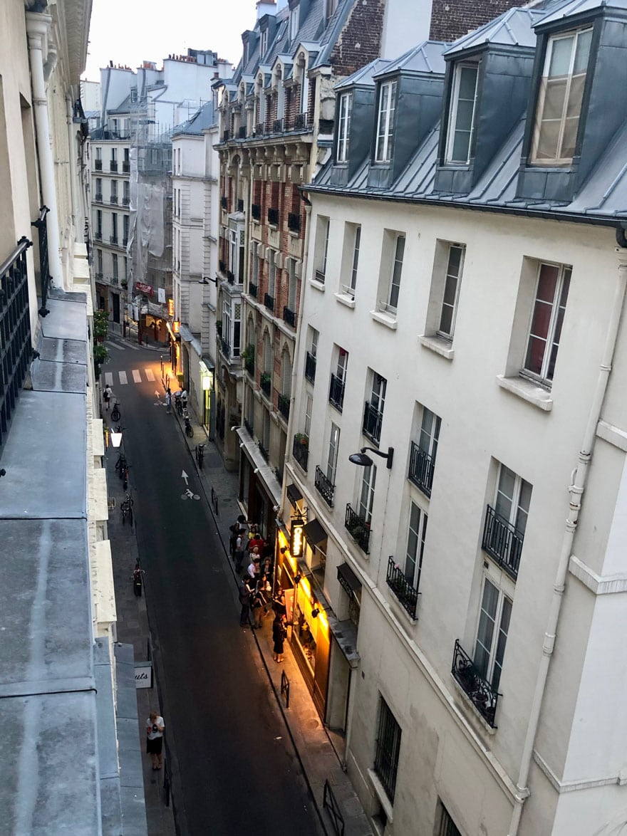 street view in paris at dusk