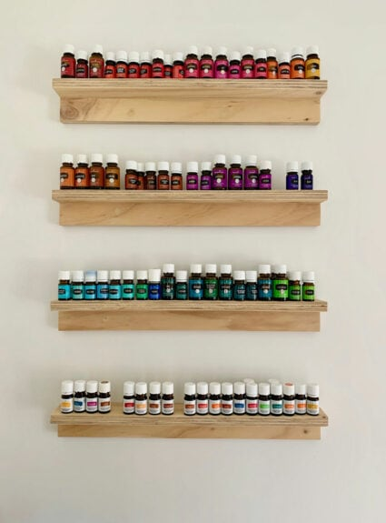 DIY Essential Oil Shelves