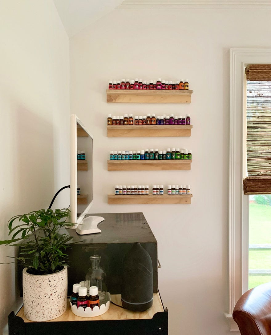 shelves with essential oil bottles